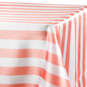 Awesome Rectangle Coral And White Striped Table Linen